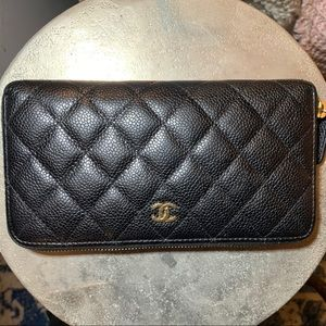 Chanel Classic Quilted Large Zip Wallet